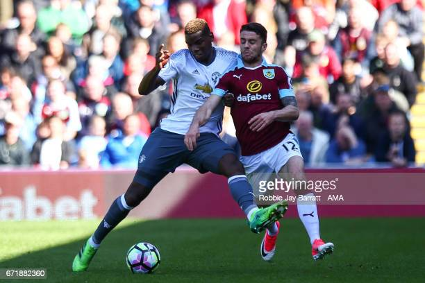 Paul Pogba of Manchester United and Robbie Brady of Burnley during the Premier League match between Burnley and Manchester United at Turf Moor on...