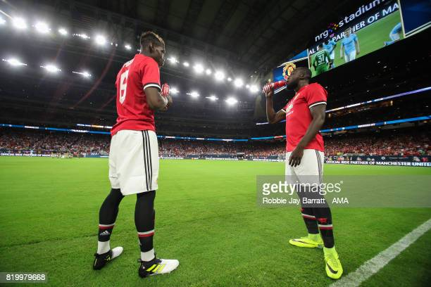 Paul Pogba of Manchester United and Romelu Lukaku of Manchester United during the International Champions Cup 2017 match between Manchester United...