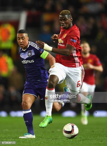Paul Pogba of Manchester United and Youri Tielemans of RSC Anderlecht battle for the ball during the UEFA Europa League quarter final second leg...