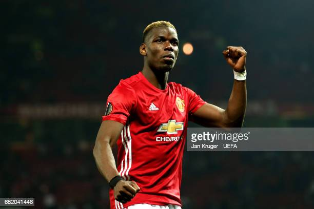 Paul Pogba of Manchester United applauds fans following the UEFA Europa League semi final second leg match between Manchester United and Celta Vigo...