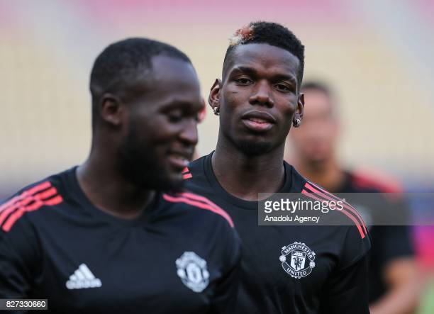 Paul Pogba of Manchester United attends the last training ahead of the UEFA Super Cup Final match between Manchester United and Real Madrid at the...