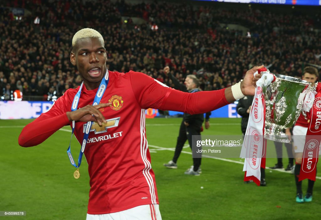 Paul Pogba of Manchester United celebrates after the EFL Cup Final match between Manchester United and Southampton at Wembley Stadium on February 26, 2017 in London, England.
