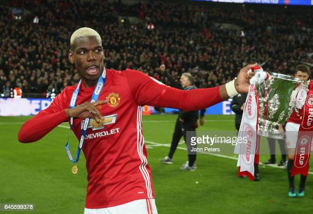 Paul Pogba of Manchester United celebrates after the EFL Cup Final match between Manchester United and Southampton at Wembley Stadium on February 26...