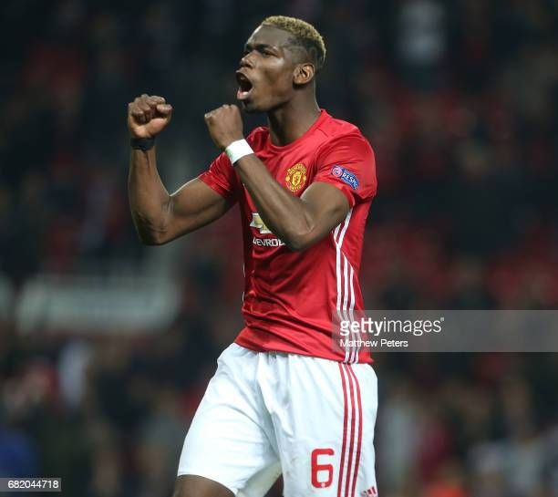 Paul Pogba of Manchester United celebrates after the UEFA Europa League semi final second leg match between Manchester United and Celta Vigo at Old...