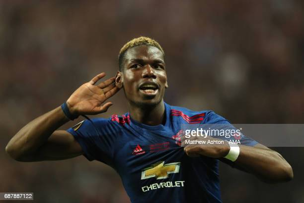 Paul Pogba of Manchester United celebrates at the end of the UEFA Europa League Final between Ajax and Manchester United at Friends Arena on May 24...