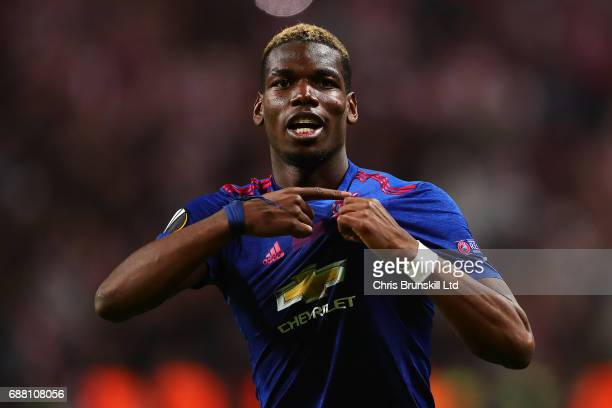Paul Pogba of Manchester United celebrates following the UEFA Europa League Final match between Ajax and Manchester United at Friends Arena on May 24...