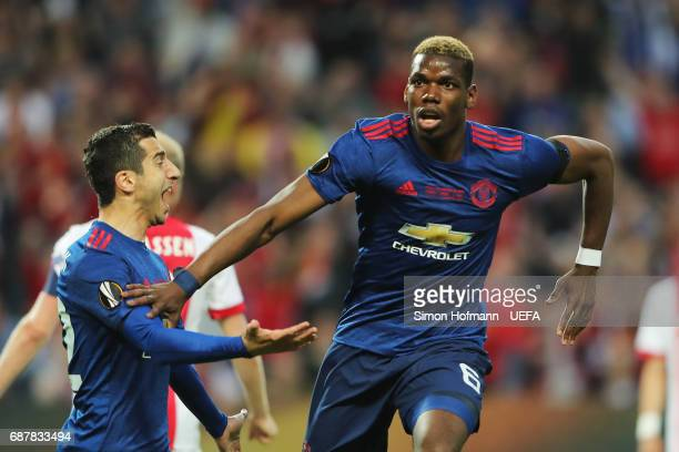 Paul Pogba of Manchester United celebrates scoring his sides first goal with Henrikh Mkhitaryan of Manchester United during the UEFA Europa League...