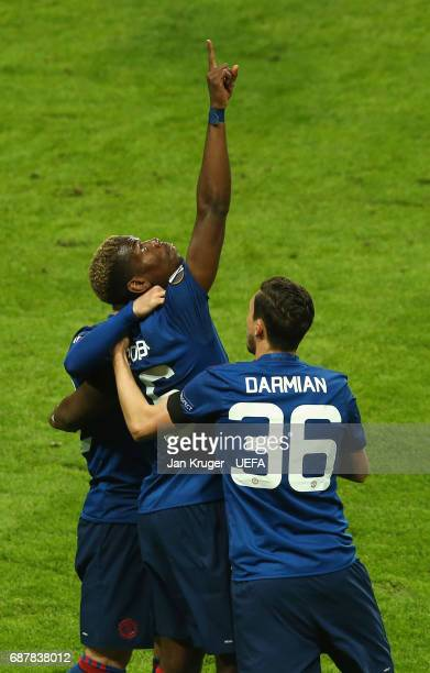 Paul Pogba of Manchester United celebrates scoring his sides first goal with Matteo Darmian of Manchester United during the UEFA Europa League Final...
