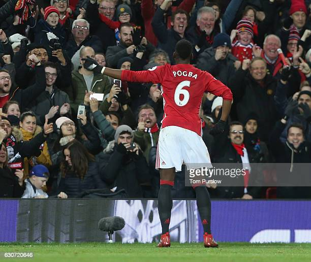 Paul Pogba of Manchester United celebrates scoring their second goal during the Premier League match between Manchester United and Middlesbrough at...