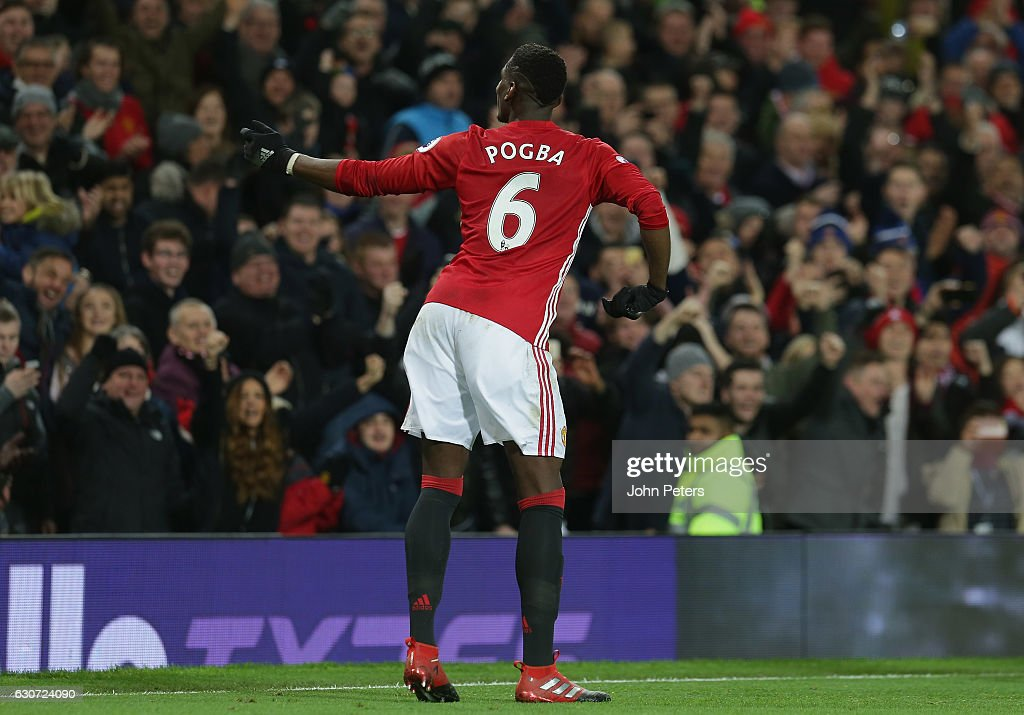 Paul Pogba of Manchester United celebrates scoring their second goal during the Premier League match between Manchester United and Middlesbrough at Old Trafford on December 31, 2016 in Manchester, England.
