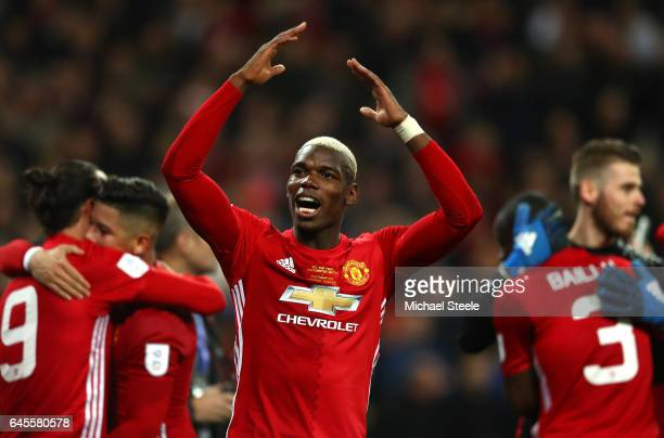 Paul Pogba of Manchester United celebrates victory after the EFL Cup Final match between Manchester United and Southampton at Wembley Stadium on...