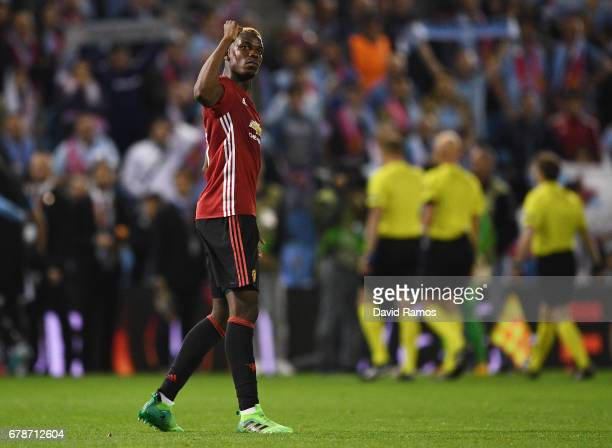 Paul Pogba of Manchester United celebrates victory after the UEFA Europa League semi final first leg match between Celta Vigo and Manchester United...