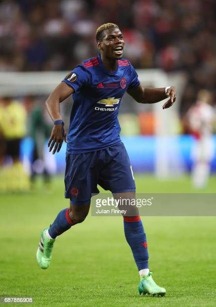 Paul Pogba of Manchester United celebrates victory following the UEFA Europa League Final between Ajax and Manchester United at Friends Arena on May...