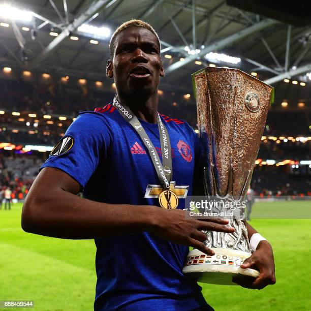 Paul Pogba of Manchester United celebrates with the trophy following the UEFA Europa League Final match between Ajax and Manchester United at Friends...