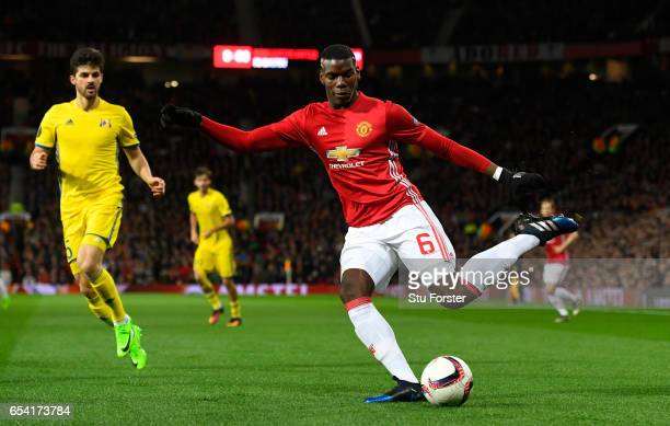 Paul Pogba of Manchester United crosses the ball during the UEFA Europa League Round of 16 second leg match between Manchester United and FK Rostov...