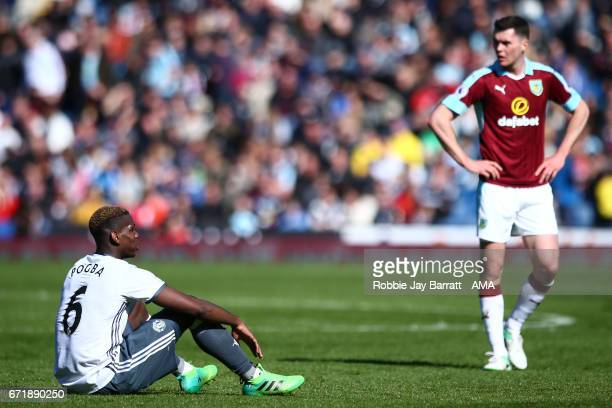 Paul Pogba of Manchester United down injured during the Premier League match between Burnley and Manchester United at Turf Moor on April 23 2017 in...