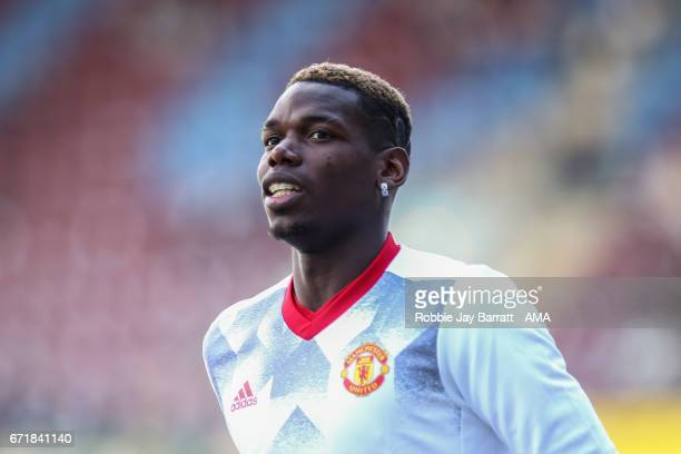 Paul Pogba of Manchester United during the Premier League match between Burnley and Manchester United at Turf Moor on April 23 2017 in Burnley England