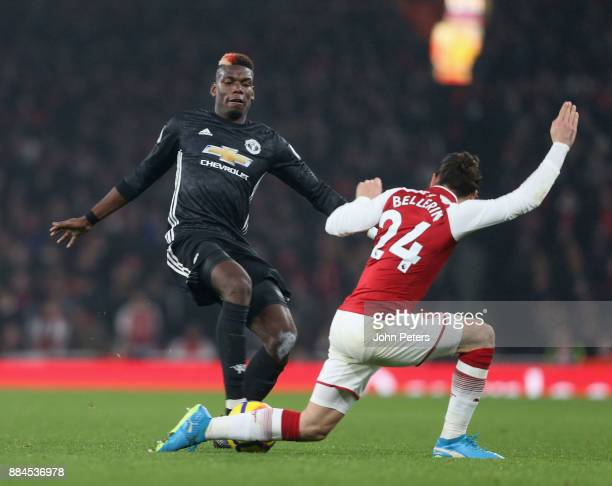 Paul Pogba of Manchester United fouls Hector Bellerin of Arsenal and is sent off during the Premier League match between Arsenal and Manchester...