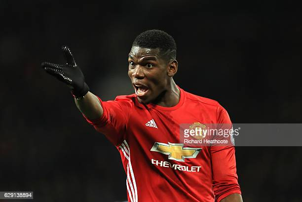 Paul Pogba of Manchester United gestures during the Premier League match between Manchester United and Tottenham Hotspur at Old Trafford on December...