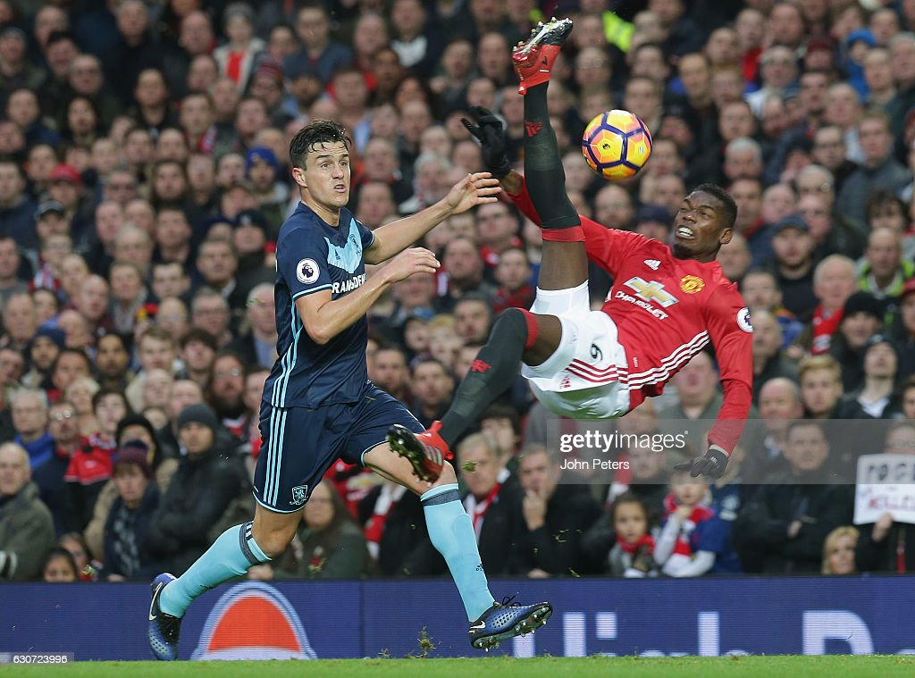 Paul Pogba of Manchester United has a shot on goal during the Premier League match between Manchester United and Middlesbrough at Old Trafford on December 31, 2016 in Manchester, England.