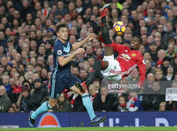 Paul Pogba of Manchester United has a shot on goal during the Premier League match between Manchester United and Middlesbrough at Old Trafford on...
