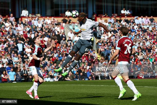Paul Pogba of Manchester United heads the ball towards goal during the Premier League match between Burnley and Manchester United at Turf Moor on...