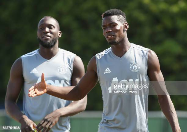 Paul Pogba of Manchester United in action during a first team training session as part of their preseason tour of the USA at UCLA on July 16 2017 in...
