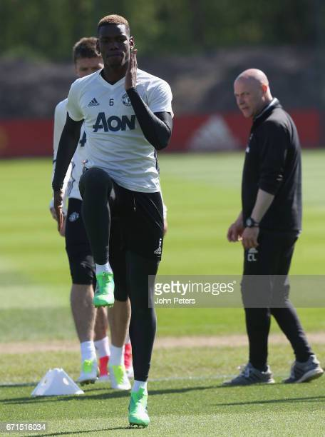 Paul Pogba of Manchester United in action during a first team training session at Aon Training Complex on April 22 2017 in Manchester England