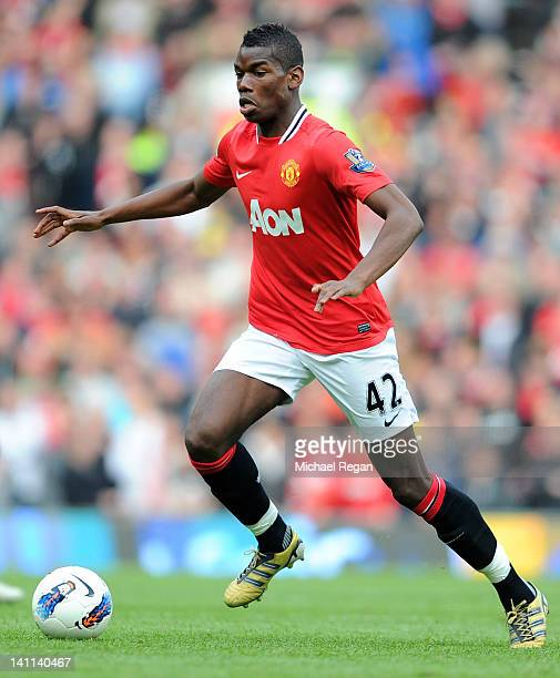 Paul Pogba of Manchester United in action during the Barclays Premier League match between Manchester United and West Bromwich Albion at Old Trafford...