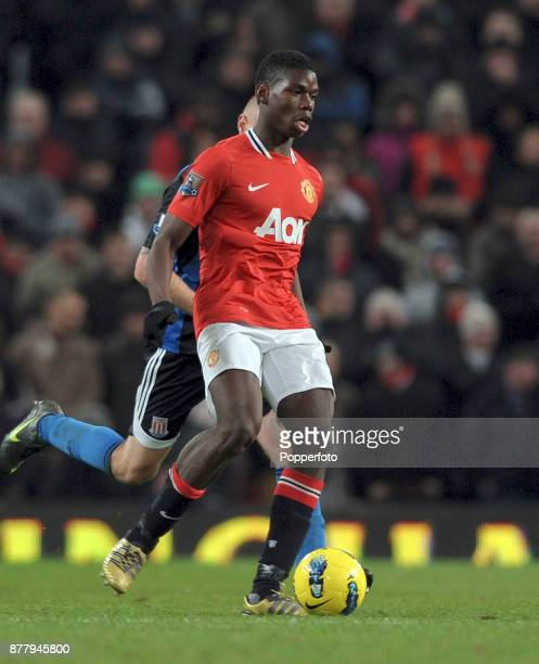 Paul Pogba of Manchester United in action during the Barclays Premier League match between Manchester United and Stoke City at Old Trafford on...