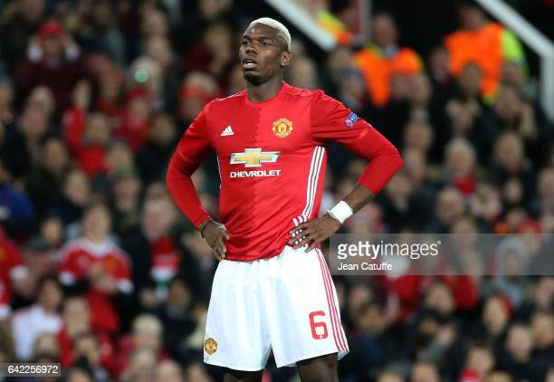 Paul Pogba of Manchester United in action during the UEFA Europa League Round of 32 first leg match between Manchester United and AS SaintEtienne at...