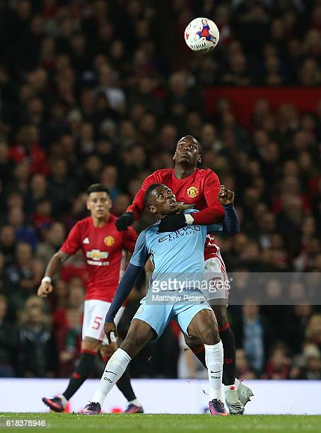 Paul Pogba of Manchester United in action with Kelechi Iheanacho of Manchester City during the EFL Cup Fourth Round match between Manchester United...