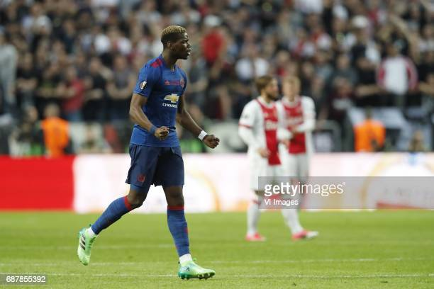 Paul Pogba of Manchester United Lasse Schone of Ajax Matthijs de Ligt of Ajaxduring the UEFA Europa League final match between Ajax Amsterdam and...