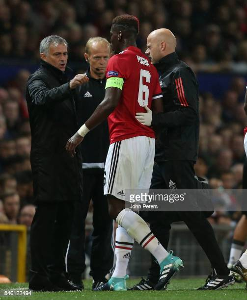 Paul Pogba of Manchester United leaves the match with an injury during the UEFA Champions League group A match between Manchester United and FC Basel...