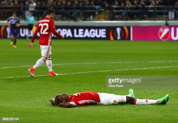 Paul Pogba of Manchester United looks dejected during the UEFA Europa League quarter final first leg match between RSC Anderlecht and Manchester...