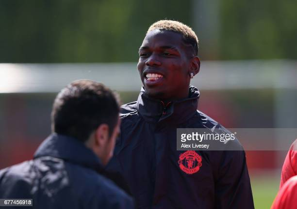 Paul Pogba of Manchester United looks on during a training session at the Aon Training Complex on May 3 2017 in Manchester England