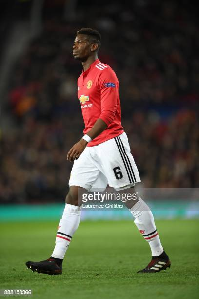 Paul Pogba of Manchester United looks on during the UEFA Champions League group A match between Manchester United and CSKA Moskva at Old Trafford on...