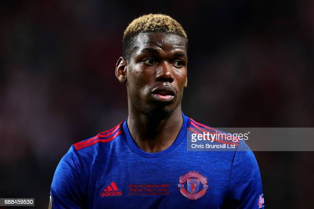 Paul Pogba of Manchester United looks on during the UEFA Europa League Final match between Ajax and Manchester United at Friends Arena on May 24 2017...