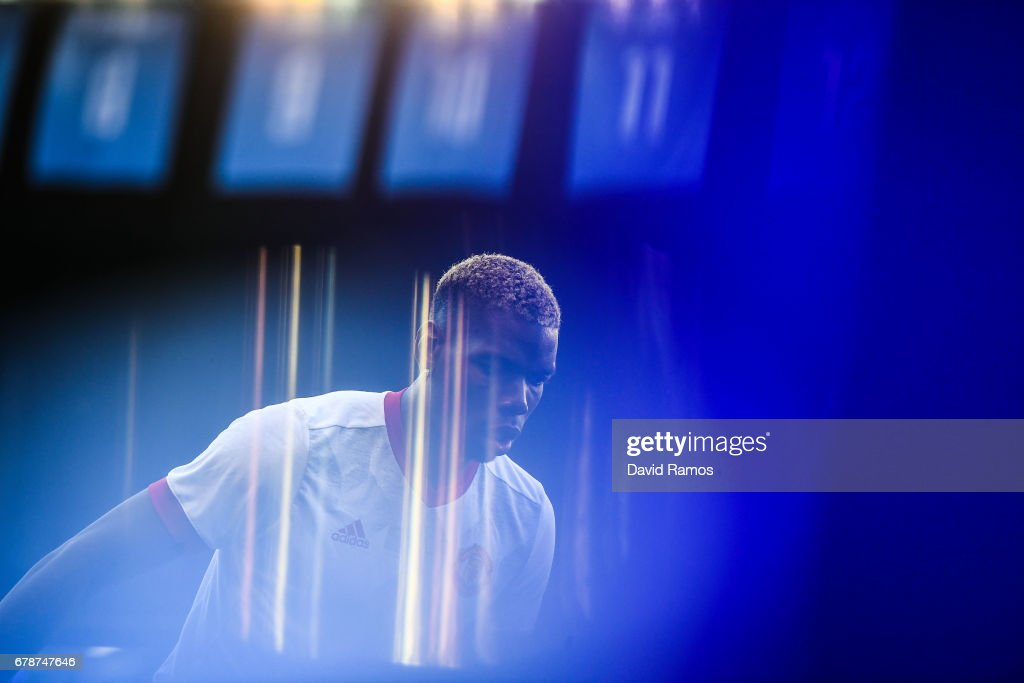 Paul Pogba of Manchester United looks on during the warm up prior to the UEFA Europa League, semi final first leg match, between Celta Vigo and Manchester United at Estadio Balaidos on May 4, 2017 in Vigo, Spain.