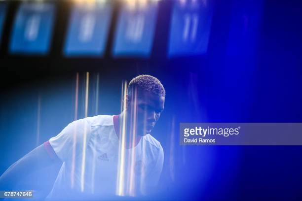 Paul Pogba of Manchester United looks on during the warm up prior to the UEFA Europa League semi final first leg match between Celta Vigo and...