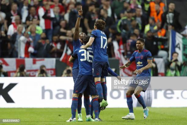 Paul Pogba of Manchester United Matteo Darmian of Manchester United Daley Blind of Manchester United Marcus Rashford of Manchester Unitedduring the...