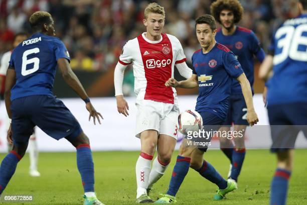 Paul Pogba of Manchester United Matthijs de Ligt of Ajax Ander Herrera of Manchester United Marouane Fellaini of Manchester Unitedduring the UEFA...