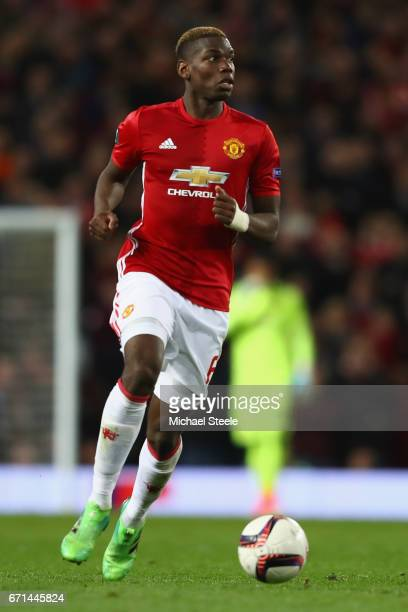 Paul Pogba of Manchester United prepares to take a corner during the UEFA Europa League quarter final second leg match between Manchester United and...