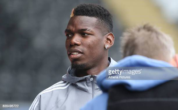 Paul Pogba of Manchester United prior to kick off of the Premier League match between Swansea City and Manchester United at The Liberty Stadium on...