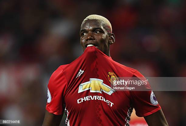 Paul Pogba of Manchester United reacts after failing to score during the Premier League match between Manchester United and Southampton at Old...