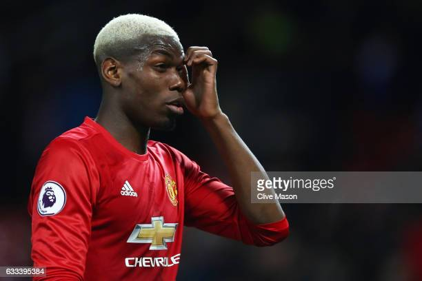 Paul Pogba of Manchester United reacts after the Premier League match between Manchester United and Hull City at Old Trafford on February 1 2017 in...