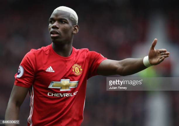 Paul Pogba of Manchester United reacts during the Premier League match between Manchester United and AFC Bournemouth at Old Trafford on March 4 2017...