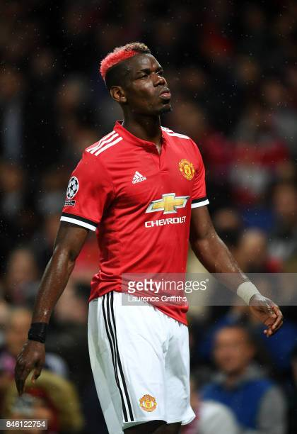 Paul Pogba of Manchester United reacts during the UEFA Champions League Group A match between Manchester United and FC Basel at Old Trafford on...