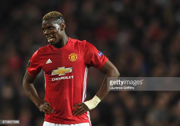 Paul Pogba of Manchester United reacts during the UEFA Europa League quarter final second leg match between Manchester United and RSC Anderlecht at...