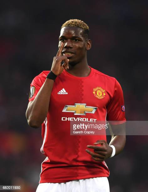 Paul Pogba of Manchester United reacts during the UEFA Europa League semi final second leg match between Manchester United and Celta Vigo at Old...